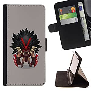 DEVIL CASE - FOR Sony Xperia Z2 D6502 - Aztec Warrior - Style PU Leather Case Wallet Flip Stand Flap Closure Cover