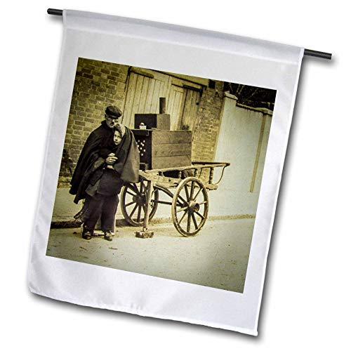 3dRose Scenes from The Past - Magic Lantern - Vintage Edwardian Era Father Daughter Street Merchants Chestnut Cart - 12 x 18 inch Garden Flag (fl_300331_1)