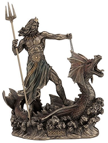 Poseidon With Trident Standing On Hippocampus, Cold Cast Bronze, 9 1/4 Inch Tall