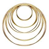 eBoot 10 Pieces Metal Rings Metal Hoops for Dream Catcher, 5 Sizes (Gold)