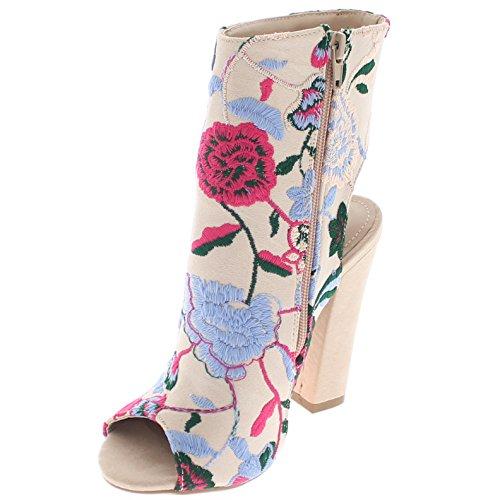 Floral Booty Toe Ramos Heel Multi Shoe Republic Embroidery Open w Peep ZqgOXwnRt