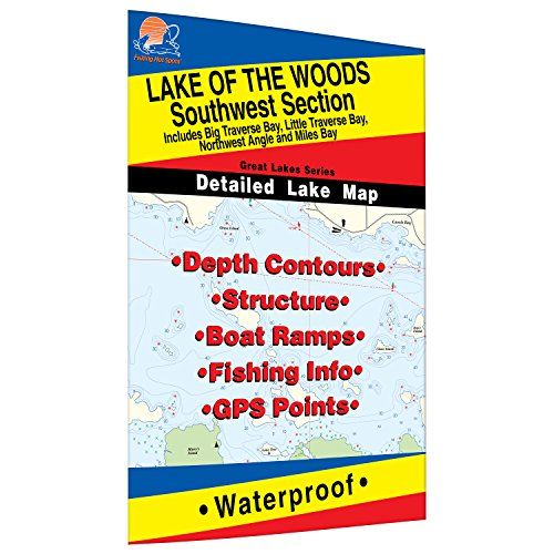 Lake Of The Woods Sw Fishing Map  Lake  Incl  Big Little Traverse Bay   Mn Ont