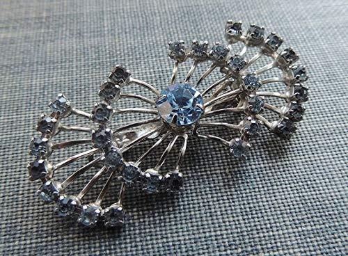 Jewelry Vintage Estate Retro (Vintage Rhinestone Brooch/Fan Brooch/Blue Crystal Brooch / 1960s Brooch/Retro Brooch/Mid Century Brooch/Estate Jewelry/Wedding)
