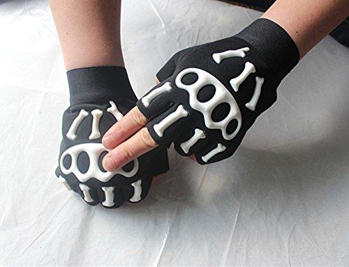 Comfspo Bones Skull Skeleton Glove Cycling Half Finger Gloves (Simms Flap)