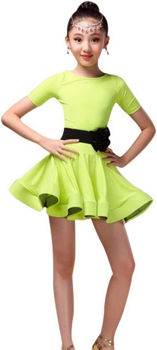 Happy Cherry Kid Girls Spandex Latin Rumba Samba Dance Dress Ballroom Dancewear