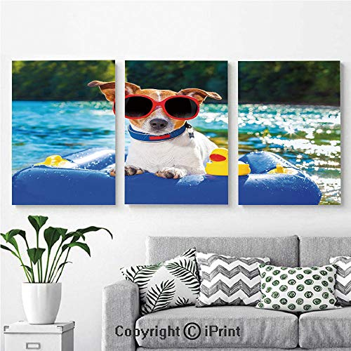 (Modern Gallery Wrapped Canvas Print Jack Russell Dog with Sunglasses Sitting on The Lake Beach Puppy at Beach Picture 3 Panels Pictures on Canvas Wall Art Ready to Hang for Living Room Kitchen Home D )