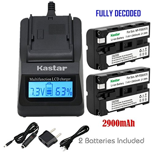 Kastar 2x Battery + Fast Charger for Sony NP-F570 NP-F550 NP-F530 NP-F330 & CCD-RV100 CCD-SC5 CCD-SC9 CCD-TR1 CCD-TR215 CCD-TR940 Camcorder, CN-126 CN-160 CN-216 CN-304 YN 300 VL600 LED Video Light by Kastar