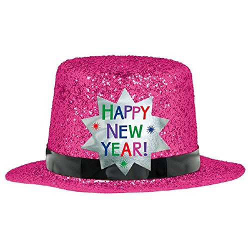 [Amscan Rocking New Year's Party Mini Glitter Top Hats Accessory, Bright Pink, 2