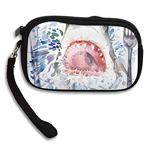 James C Franklin Sharks with Knives and Forks Small Wallet, Coin Purse, Wallet with Zipper, 100% Polyester Wallet with Pattern for Mobile Phone, Bank Card, ID Card