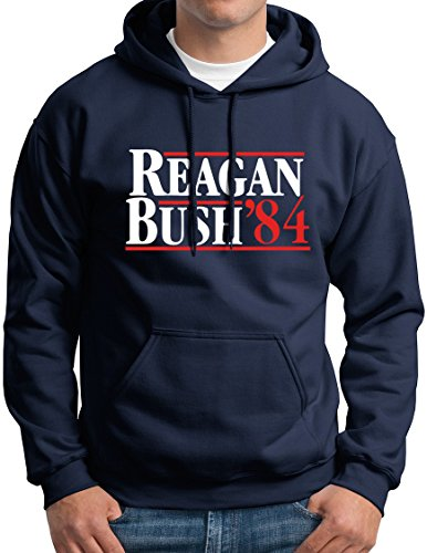 Ronald Reagan George Bush 84 Republican President Campaign Hoodie Sweatshirt Navy M ()