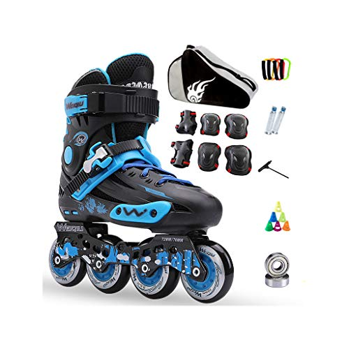 墓補充レルムailj インラインスケート、スケート、大人の子供、男性と女性、ローラースケートのセット、プロフェッショナルコンビネーション、多機能スケート(3色) (色 : 青, サイズ さいず : EU 41/US 8/UK 7/JP 25.5cm)