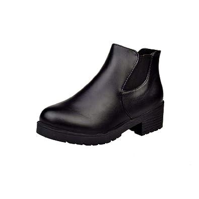 5f48c00c6fec0 DEELIN Women Short Boots Basic Solid Slip-On PU Leather Round Toe Square  Low Heel