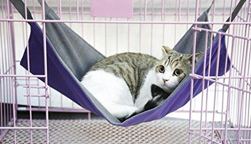 Heavy-duty Reversible Pet Cat Travel Hammock 2in1 Summer Waterproof Oxford & Winter Warm Fleece Kitten Puppy Hanging Cage Chair Comforter Cozy Hammock Bed Pad Cradle Crib Basket Cushion Mat,5338cm