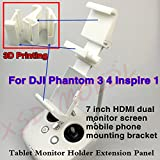 XSD MOEDL 3D Printed 7in HDMI Monitor & Cellphone Holder Dual Screen Bracket Double Monitor Support for DJI Phantom 3/4 Inspire Romote Control