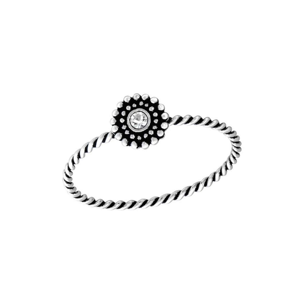 Polished Nickel Free Flower Jeweled Rings 925 Sterling Silver Liara