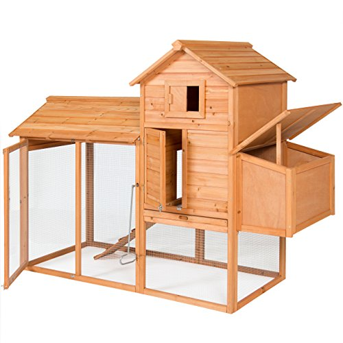 Best Choice Products Outdoor Wooden Chicken Coop Wire Fence Hen House Poultry Cage 80in Brown for 4 Birds