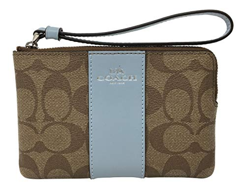 Coach Signature PVC and Leather Corner Zip Wristlet (Khaki Pale Blue)