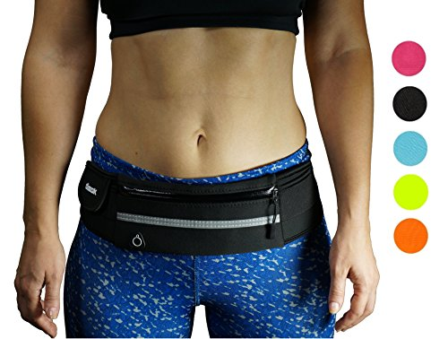 - dimok Running Belt Waist Pack - Water Resistant Runners Belt Fanny Pack for Hiking Fitness - Adjustable Running Pouch for All Kinds of Phones iPhone Android Windows