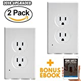 wall bulb cover - LED Wall Plate 2 Pack - Outlet Cover Guidelight - Snap On Switch Night Light - Installs in Seconds with No Battery or Wires - On / Off Light Sensor - Duplex White for Hallway, Kitchen and Bedroom