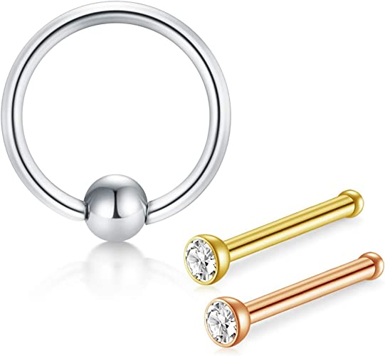 1pc Stainless Steel Screw Nose Studs Rings 2MM Round Crystal Nose Piercings