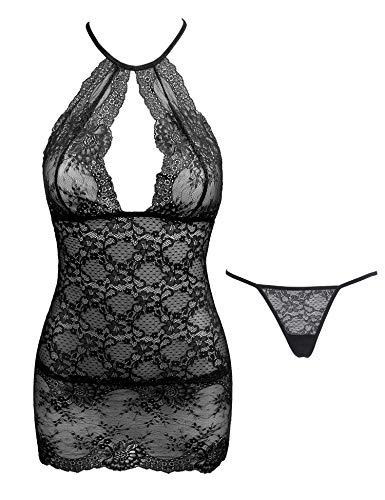 (Amorbella Women One Piece Babydoll Lingerie Lace Halter Teddy Dress (Black,Medium))