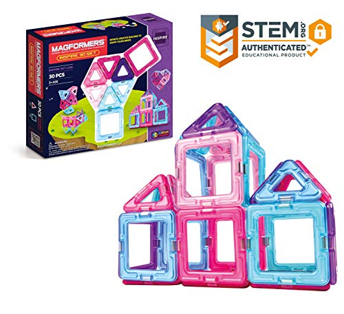 Magformers Inspire Set (30-pieces) Magnetic    Building      Blocks, Educational  Magnetic    Tiles Kit , Magnetic    Construction  STEM Toy Set - 63097