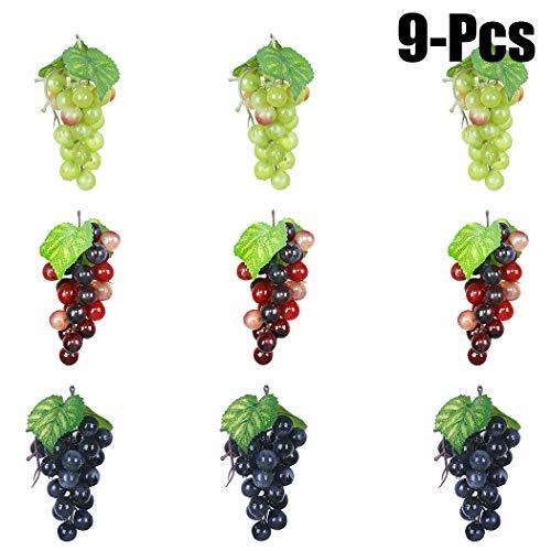 - Outgeek Artificial Grapes, Artificial Grapes Mini Grape Clusters Rubber Fake Grape Bundles Decorative Grapes Hanging Ornaments for Vintage Wedding Favor Fruit Wine Decor Faux Fruit Props