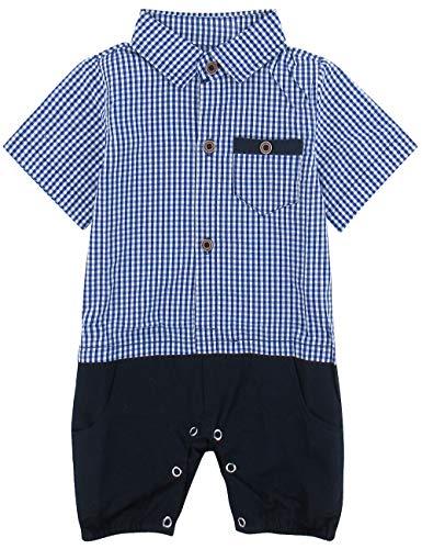 A&J DESIGN Baby Boys' Polo Plaid Short Sleeve Romper (9-12 Months, -