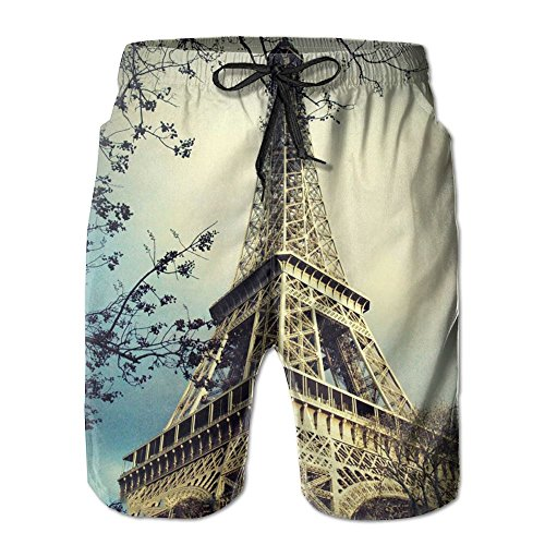 Famous Tower Eiffel Men Beach Shorts Indoor Pants Household Swim Trunks M