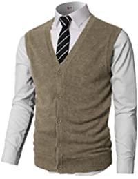 Mens Casual Slim Fit Solid Texture Button-Front Lightweight Sweater Vest