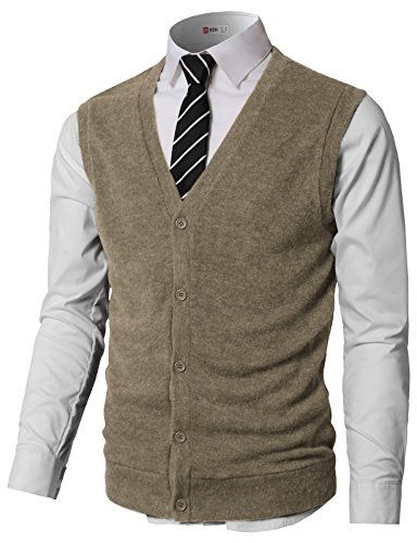 H2H Mens Casual Solid Wool-Blend V Neck Sweater Vests Khaki US M/Asia L (CMOV046)