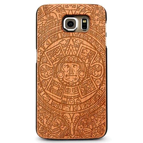 JewelryVolt Wooden Phone Case for Galaxy S8 Cherry Wood Laser Engraved Spiritual Aztec Mayan Calendar 1