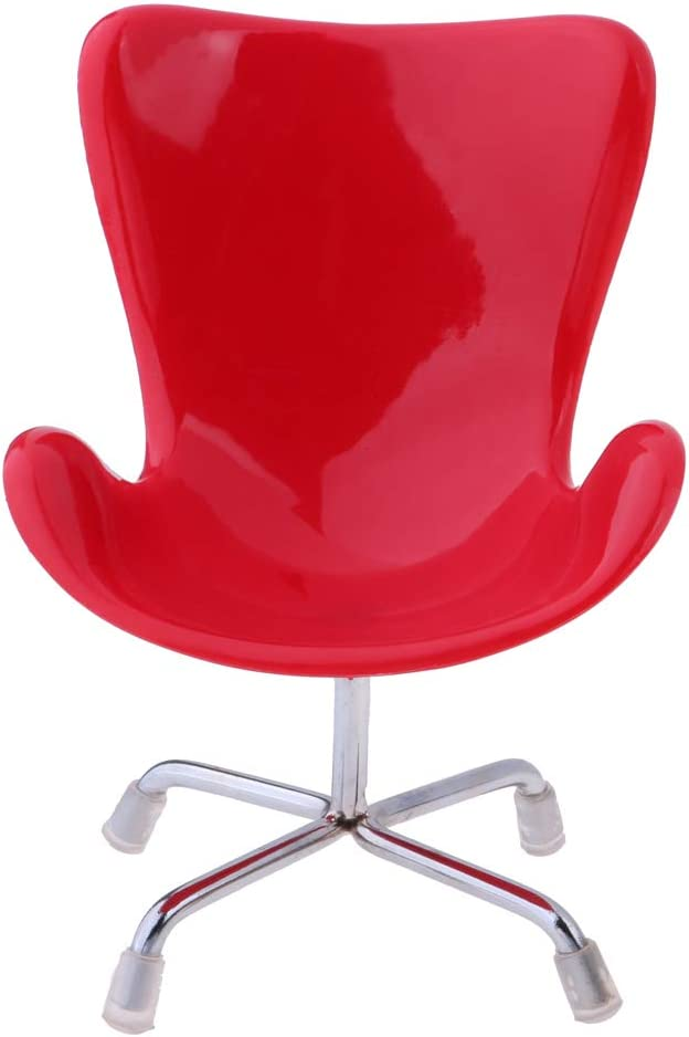 Prettyia 1//6 Red Office Swan Chair Dollhouse Furniture Kids Play House Toy