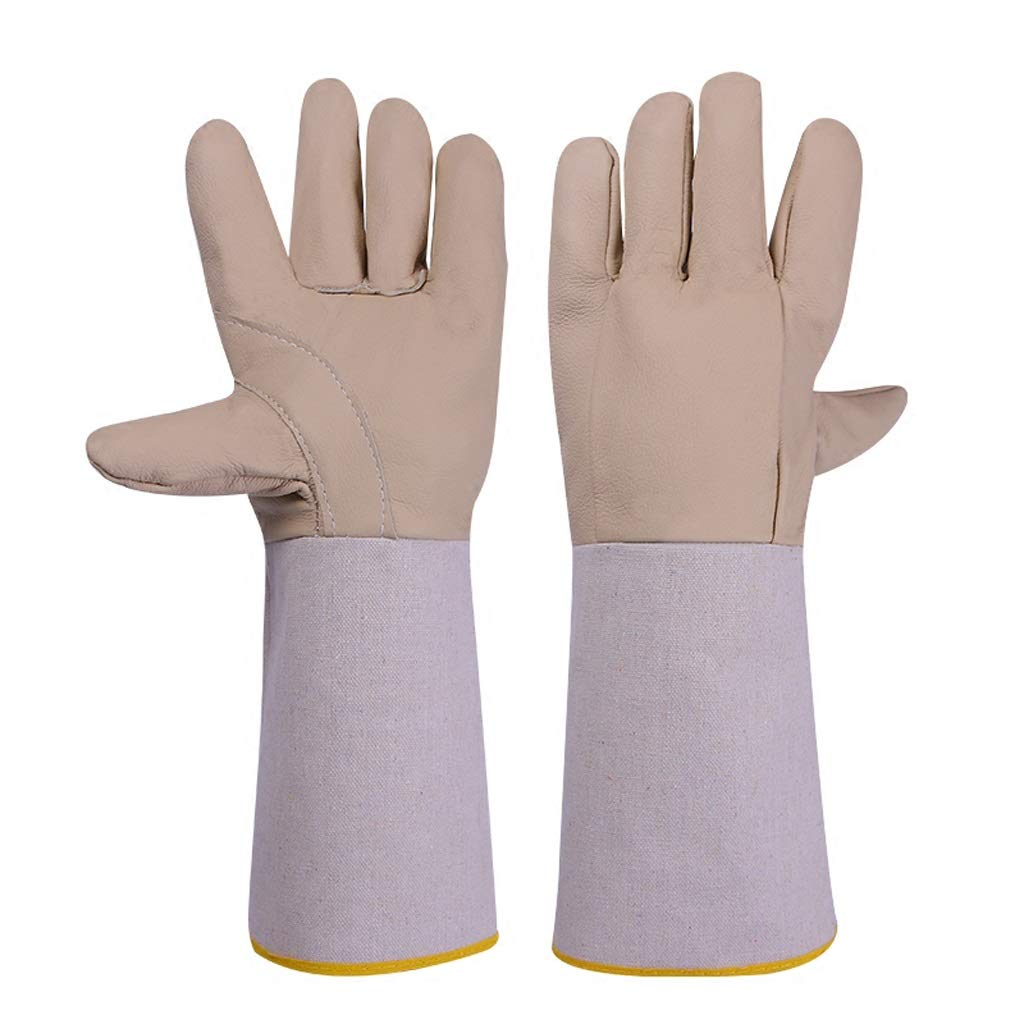 DSWDA Welders Gloves Cow Split Leather Factory Gardening Welding Wood Stove Work Gloves Heat Resistant (Size : 5 Pairs)