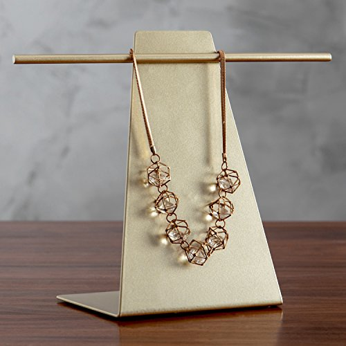 MyGift Gold-Tone Metal Tabletop T-Bar Necklace & Bracelet Display Stand
