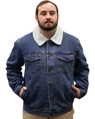 Woodland Supply Co. Men's Sherpa Lined Denim Jacket,Medium,Stonewash w/ Sherpa Collar (Stonewash Jean Jacket Men)