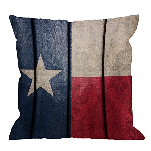 HGOD DESIGNS Texas Flagn Pillow Covers,Decorative Throw Pillow Vintage Wood Texas Flag Pillow cases Cotton Linen Outdoor Indoor Square Cushion Covers For Home Sofa couch 18x18 ()