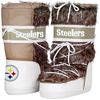 NFL Cuce Shoes Pittsburgh Steelers Ladies The Aficionado Boots - Tan/White (11)