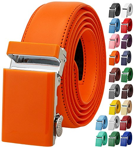 - Falari Men's Genuine Leather Ratchet Dress Belt Automatic Sliding Buckle 8168-ORG-L40