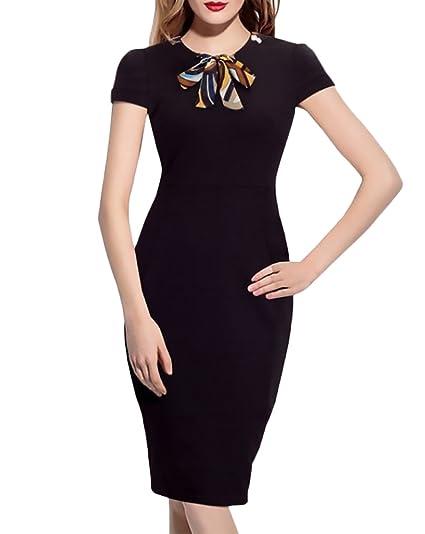 Ajustado Business Corta Negro De Rodilla Redondo Verano Elegantes Cuello Mujer La Strappy Vestidos Vestido Moda Manga Lápiz YIa6q