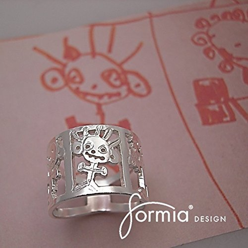 Family Ring- Custom Sterling Silver Ring makes Perfect Gift- Unique and Creative Jewelry Art- Kids Design