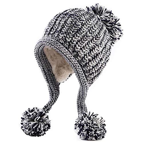 7e438843049 HUAMULAN Women Winter Peruvian Beanie Hat Skull Ski Cap Fleece Lined Ear  Flaps Dual Layered Pompoms