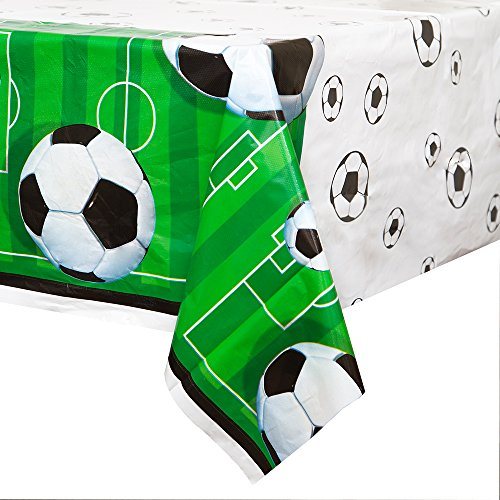 """Soccer Party Plastic Tablecloth, 84"""" x 54"""""""