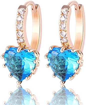 GUlICX Yellow Gold Tone Heart Aquamarine Color Party hoop Unique Blue earrings