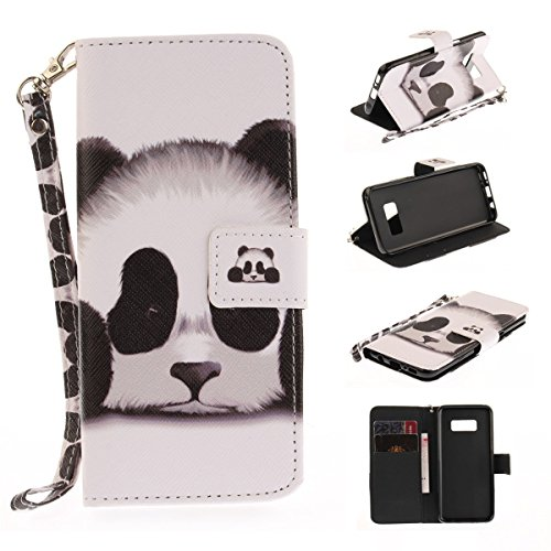 Maoerdo Galaxy S6 Case, [Panda][Kickstand Feature][Money Card Slot] [Double Sided Design] Premium Soft TPU Synthetic Leather Wallet Filp Case Cover For Samsung Galaxy S6