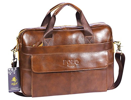 VIDENG POLO PL279 Hotest Italy Style Men's Top Genuine Leather Handmade Leather Briefcase Shoulder Messenger Business Bag for Macbook Laptop - Classic Polo Bag