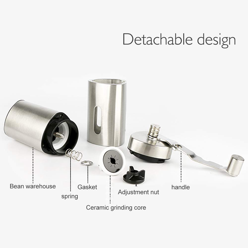 Manual Coffee Grinder, Stainless Steel Hand grinder, Triangle shape with burr coffee grinder, Suitable for French Press, Turkish,Hand-held Mini, K Cup, Family&Travel. by LetGoShop (Image #4)