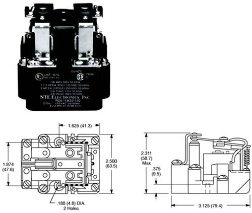 NTE Electronics R04-11D30-12 Series R4 General Purpose Multicontact DC Open Frame Relay, Heavy Duty, DPDT Contact Arrangement, 30 Amp, 12 VAC