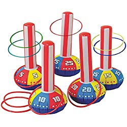"""Gamie Inflatable Ring Toss Game by Super Fun Outdoor Games for Kids & Adults - 5 15"""" Tall Inflate Bases, 5 Flexible Rings and 5 Sturdy Rings - Best Birthday Party Activity for Boys & Girls"""