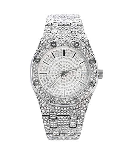 Men's Blinged Out 40mm Dial CZ Silver Watch with Tapered Band | Japan Movement | Simulated Lab Diamonds ()